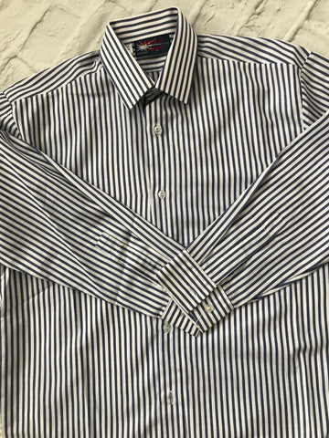 Age 10-12 Long Sleeve Navy Striped Shirt