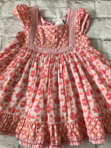 3-6 months Pink patterned Designer Dress
