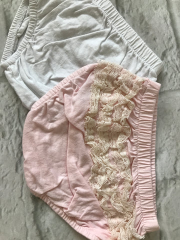 0-3 Month Pink & White Nappy Covers x 2