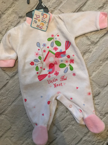 NEW 3-6 Month White Velour Outfit
