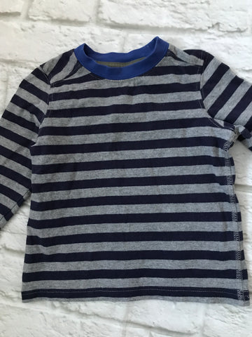 6-9 Months Navy & Grey Striped Long Sleeve Top
