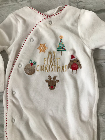 0-3 Month Velour Christmas Sleepsuit