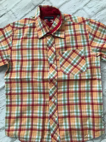 Age 7 Orange Tommy Hilfiger Checked Short Sleeve Shirt