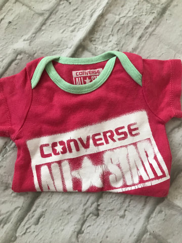 0-3 Month Pink Converse Short Sleeve Bodysuit