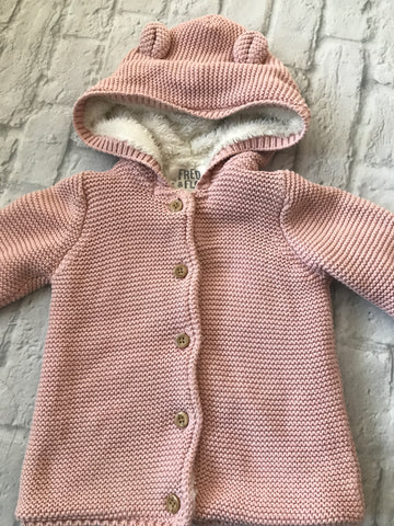 12-18 Month Pink Fur Lined Cardigan