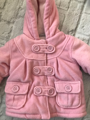 0-3 months pink fur lined duffle coat