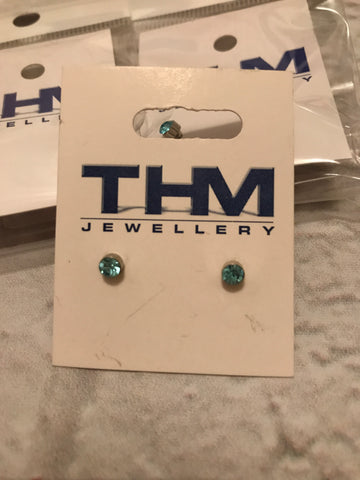 Earrings - Blue Crystal Round Studs