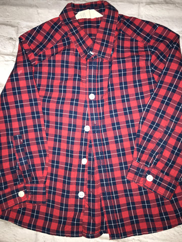 Age 3-4 Red Check H&M Long Sleeve Shirt