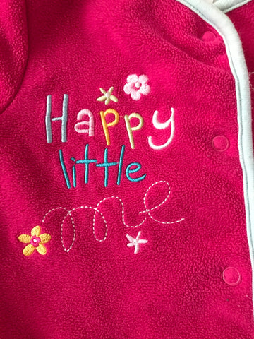 3-6 months pink fleece sleepsuit
