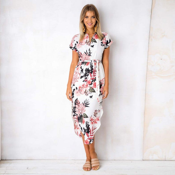 Summer V Neck Short Sleeve Midi Sundress