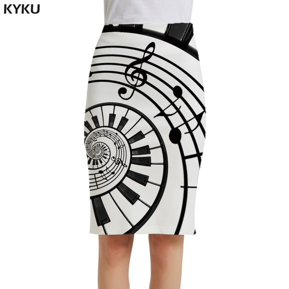 Casual Black And White Pencil  3d Print Skirt