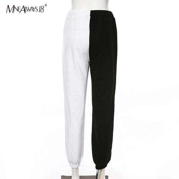 Casual High Waist  Black White Patchwork Joggers