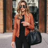 BornToGirl Women Faux Leather Brown  Blazer