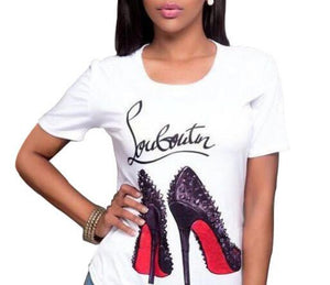 Fashion High Heel Shoes  Print  Short Sleeve