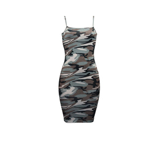 Camouflage Sleeveless Bandage Bodycon Mini  Party  Dresses
