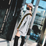 Gray Round Neck Hollow Letter Pullover Sweater