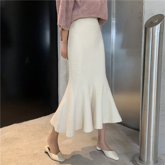 Knitted Mermaid Skirt  Slim Ruffle  High Waist