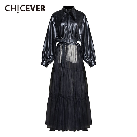 CHICEVER Leather Patchwork Mesh  Laceup  Jacket