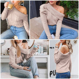 Sexy one shoulder  Asymmetrical puff sleeve pullovers
