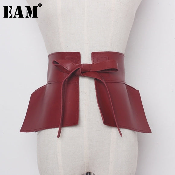 Red Pu Leather Bow Belt