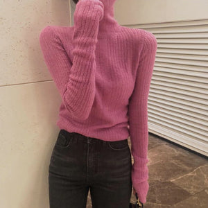 Knitted  Turtleneck Long Sleeve Autumn Slim Pullover