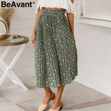 t Floral print high waist long pleated skirt