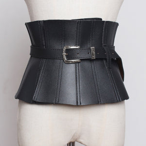 r Pu Leather Black Ruffles Buckle Split  Wide Belt