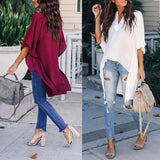 Elegant Irregular V-Neck Chiffon  Top