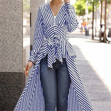 Autumn Women Striped Blouse for Business