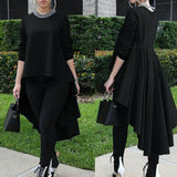 Asymmetrical Ruffle Waterfall Long Sleeve  Casual Pullover