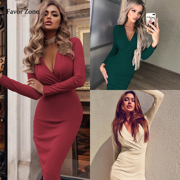 Long Sleeve Sexy Deep V Neck Bodycon Dresses