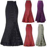Vintage Victorian  Lace Up Ruffles Fishtail Bodycon