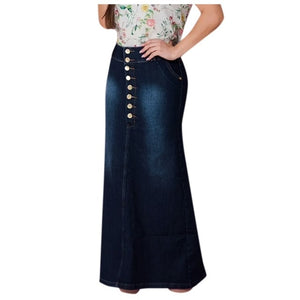 s Casual Front Button Washed Denim A-Line Skirt