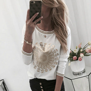 Long Sleeve  Loose Printed Casual  Blouse