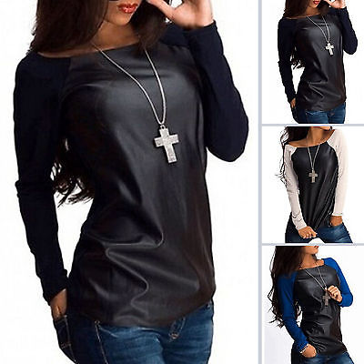 Sexy Womens Leather Long Sleeve Sweatshirt
