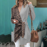 popular collar, leopard print, contrast color, long sleeve top