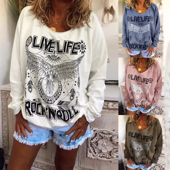 Fashion Letter big wing Printing  Long-sleeved  Tops
