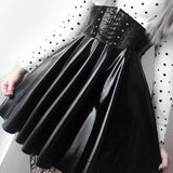 Gothic  Faux Leather  Mini Pleated Skirt