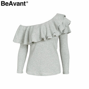 BeAvant One shoulder sexy  ruffles knitted blouse