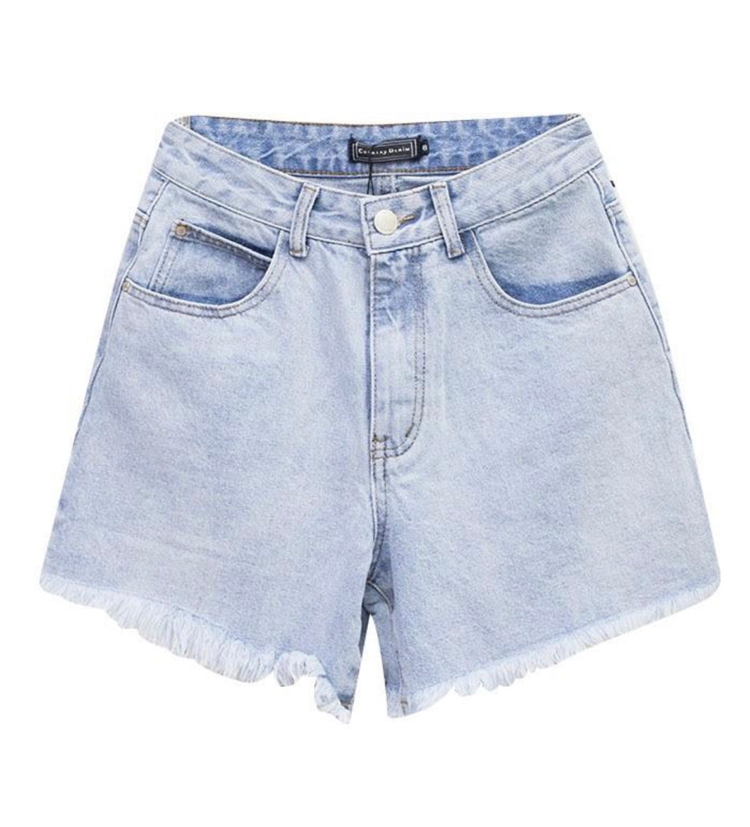 Michelle Denim Shorts - Light Blue