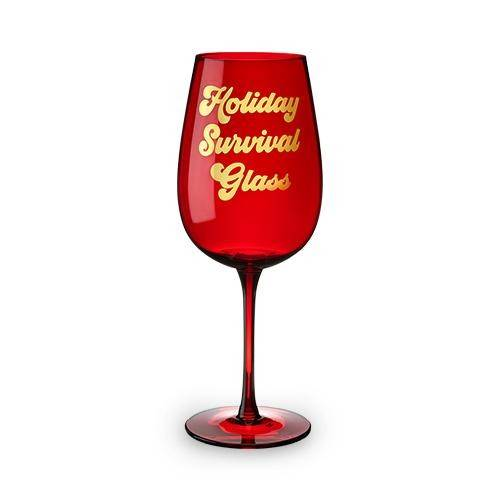 Holiday Survival Glass Full Bottle Wine Glass by