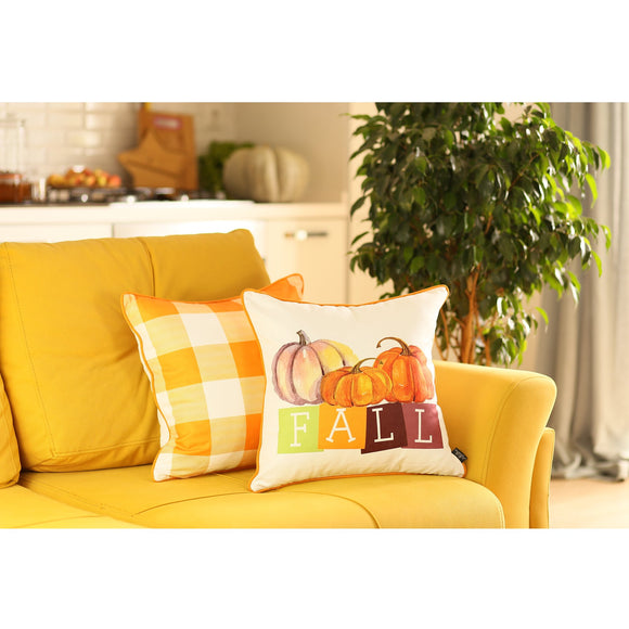 Fall Season Thanksgiving Pumpkin Gingham Square 18