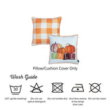 "Fall Season Thanksgiving Pumpkin Gingham Square 18"" Throw Pillow Cover"