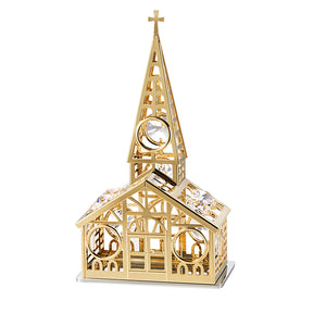 24K gold plated church with Swarovski crystal element