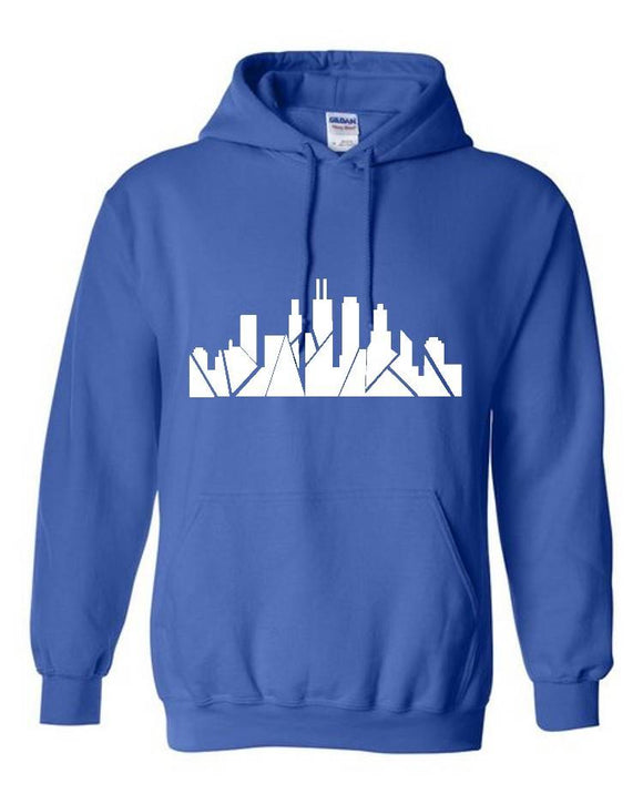 Chicago Skyline Hoodie - Royal/White