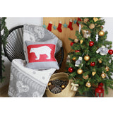 "Christmas Bear Square 18"" Throw Pillow Cover"