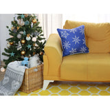 "Christmas Blue Snowflakes Square 18"" Throw Pillow Cover"