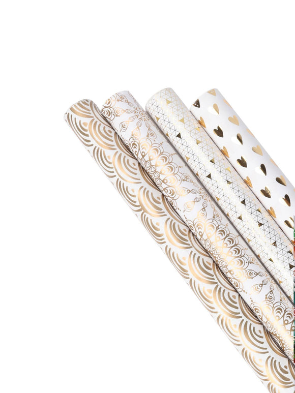 Elegant White & Gold Wrapping Paper - 4 Roll Pack