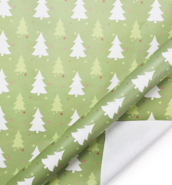 Tree Green/White Kraft Wrapping Paper Sheets