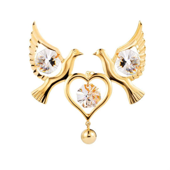 24K gold/silver plated love doves with Swarovski crystal element